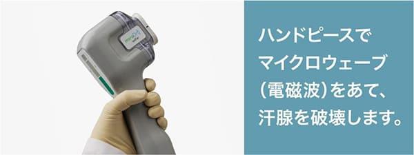 ハンドピースでマイクロウェーブ(電磁波)をあて、汗腺を破壊する治療です。